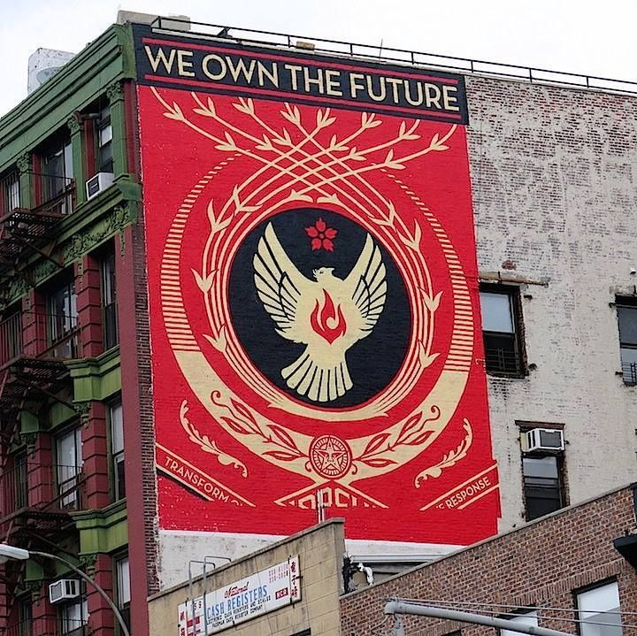 Shepard Fairey's completed mural downtown on Bowery in New York City #shepardfairey #nyc #streetart