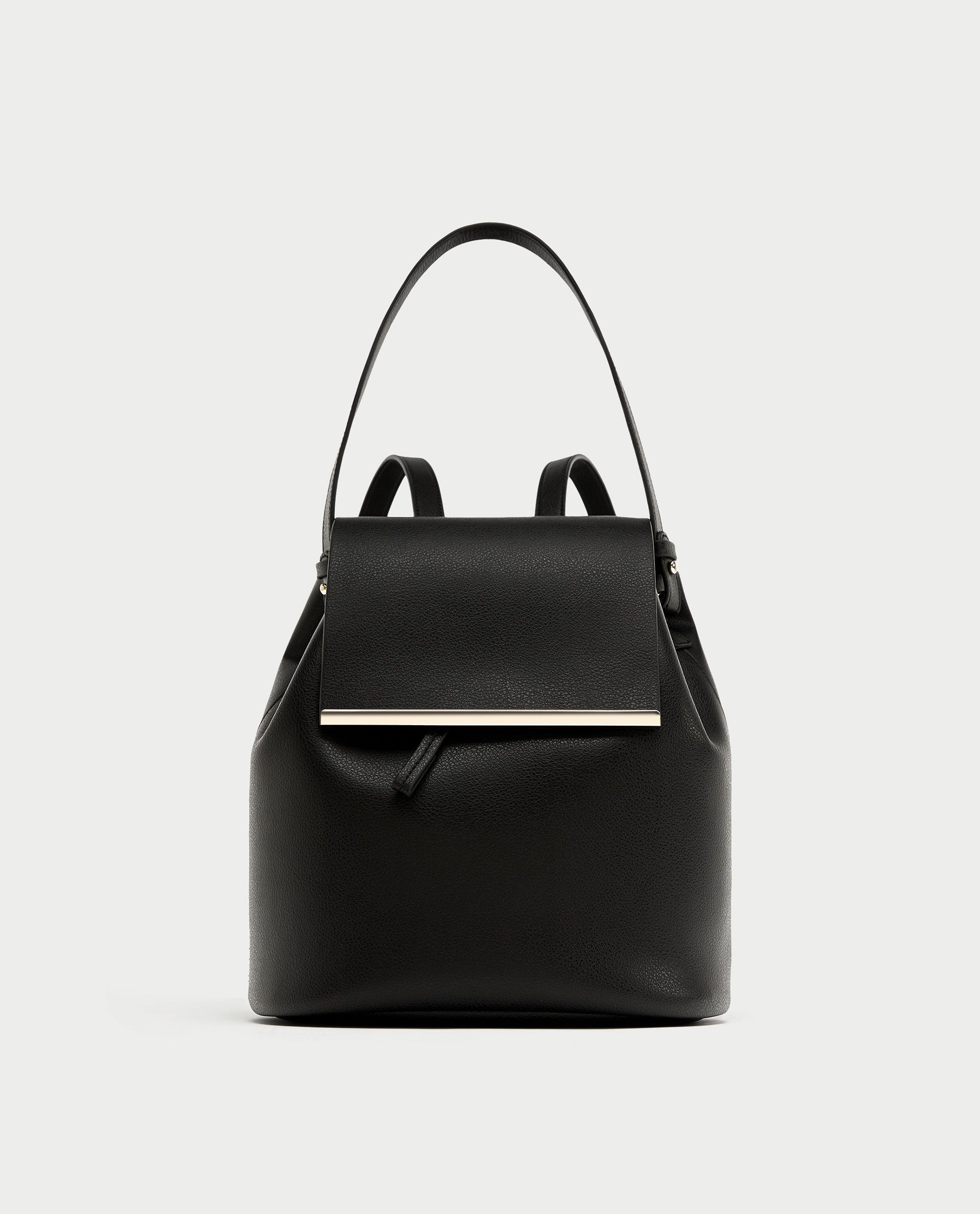 7d92964291c ZARA - WOMAN - BACKPACK WITH HANDLE AND METAL DETAIL Zara Bags, Zara Shoes,