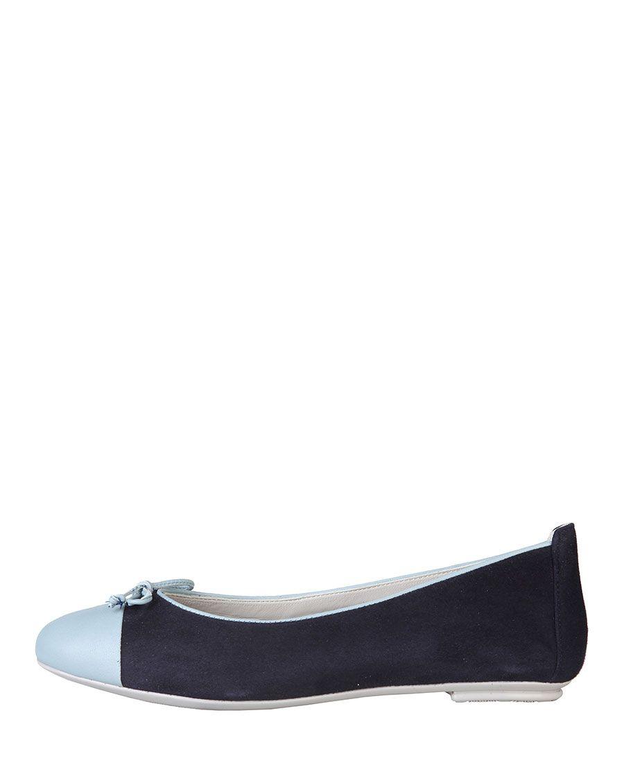 Versace 1969 abbigliamento sportivo srl milano italia  - ballerina - vera pelle scamosciata - 100% made in italy - inter - Ballerina donna  nadia Blu