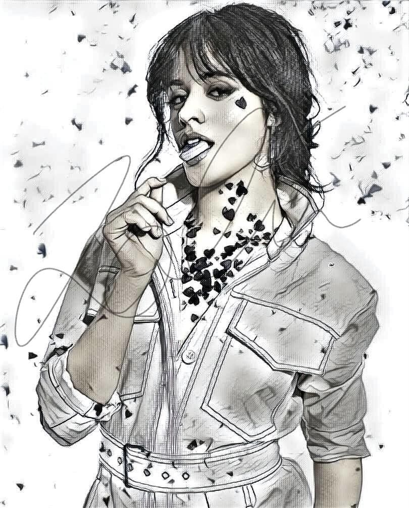 Camila Cabello Sketch Print #CABELLO_SKETCH6 | Colored ...