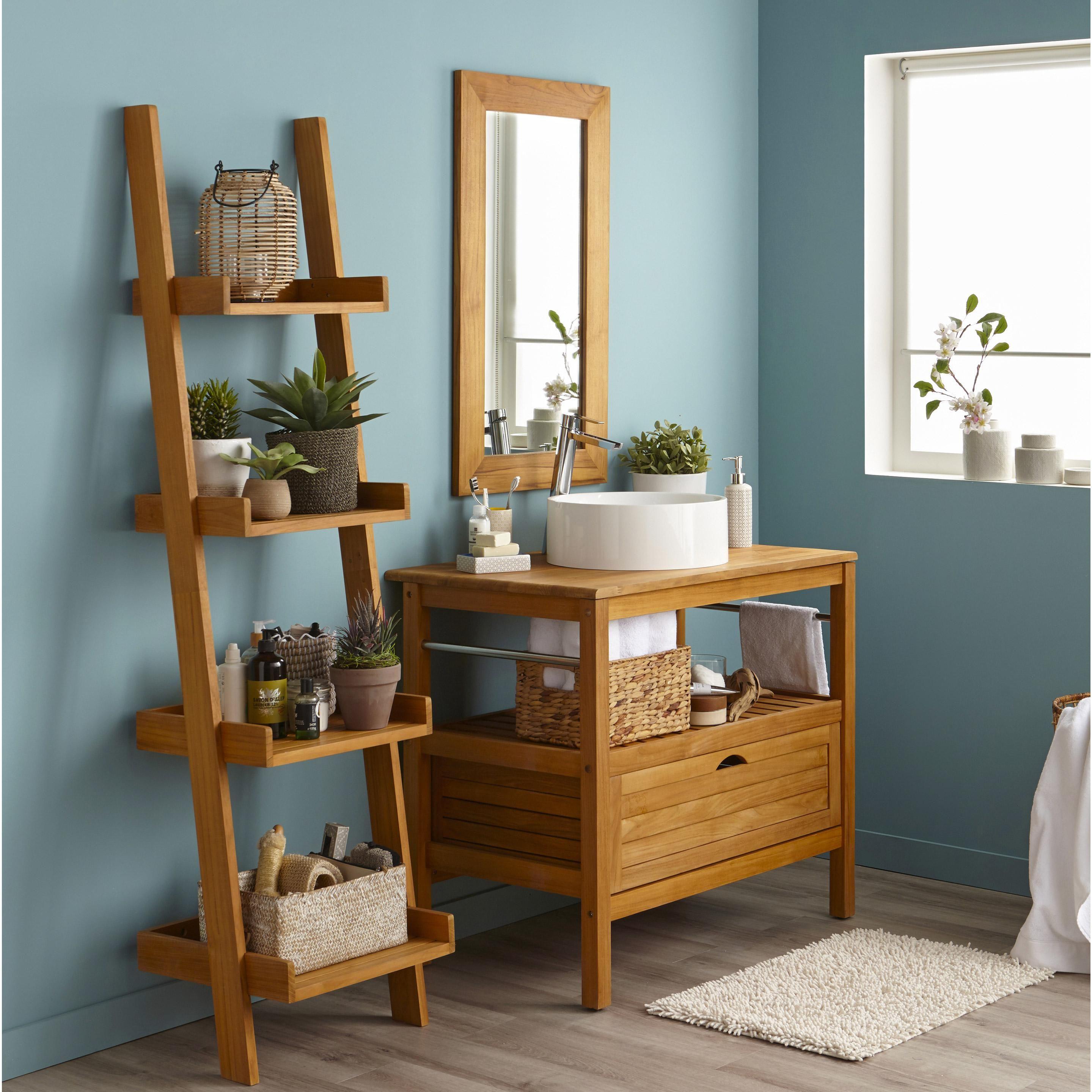 Meuble de salle de bains l.90 x H.76.2 x P.50 cm, teck