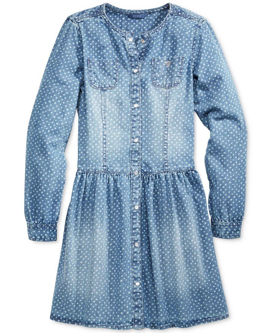Guess Girls' Geo-Print Long-Sleeve Denim Dress