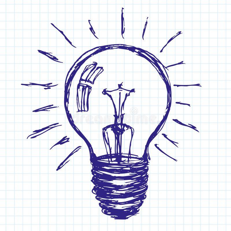 Idea Sketch Background With Lamp Lamp Vector Idea Sketch