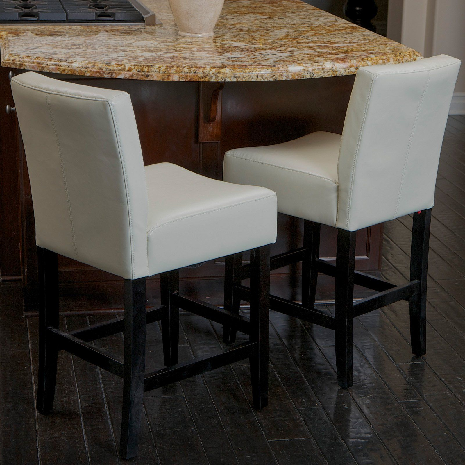 Lopez Ivory Leather Counter Stools 2 Pack In 2020 Leather