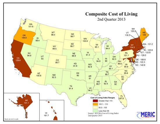 Composite Cost Of Living Map Of United States Cost Of Living