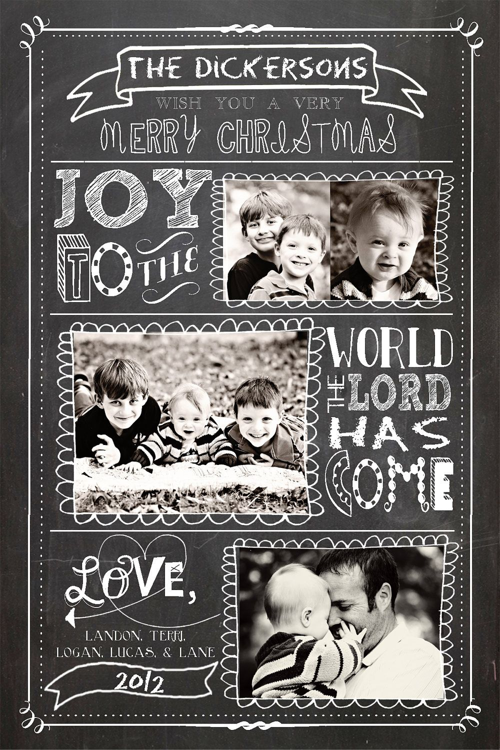 Personalized Photo Christmas Cards, Joy to the World, Printable ...
