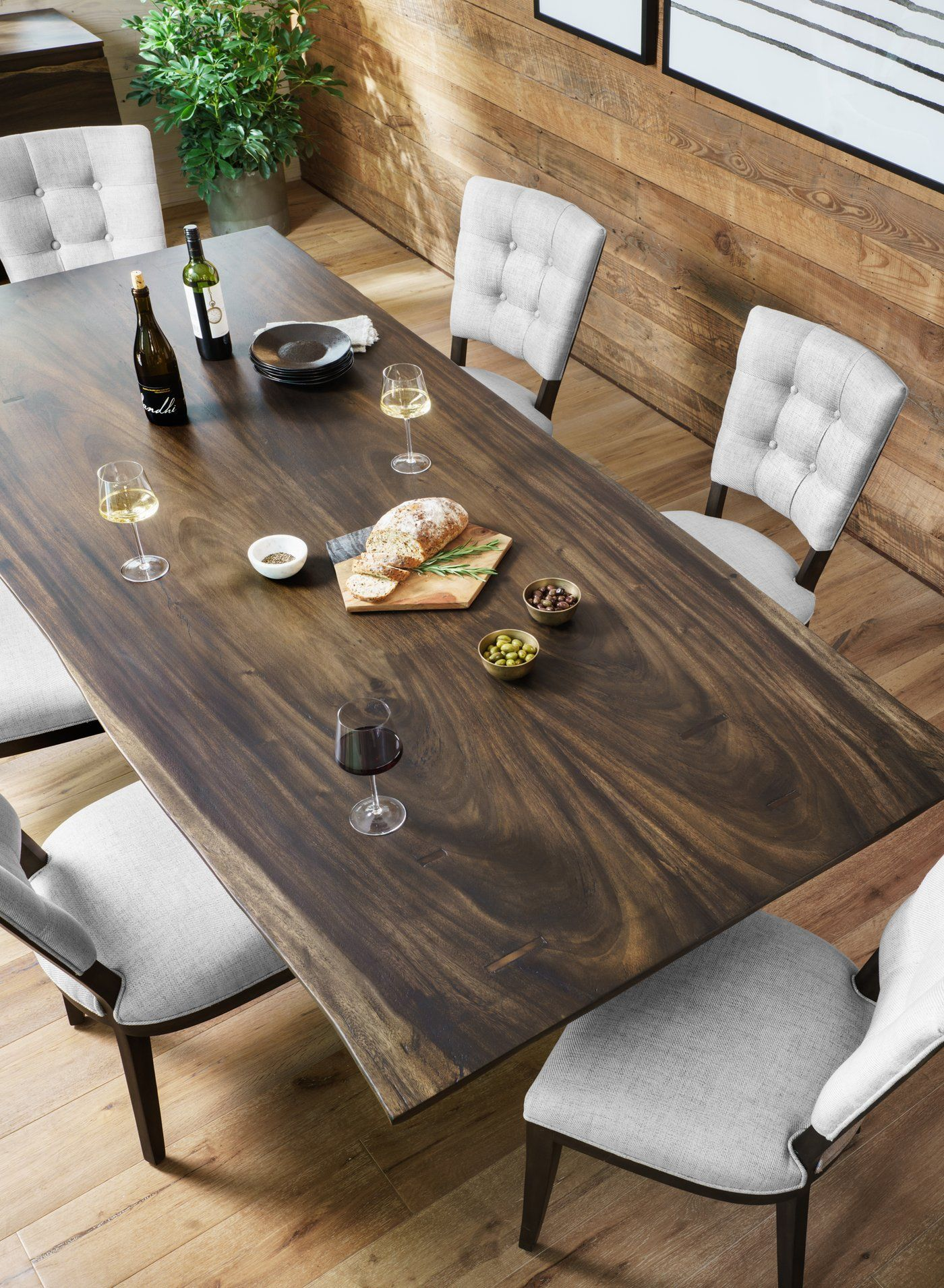 The Rocky Dining Table From Four Hands Features A Modern X Base Of Iron The Criss Cross Design Of Slab Dining Tables Wood Dining Table Live Edge Dining Table