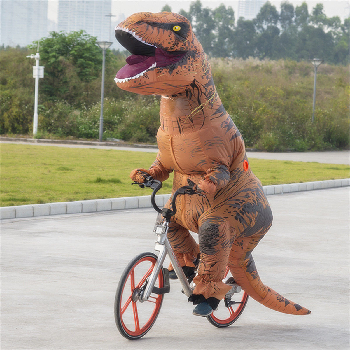7Ft Inflatable Dinosaur Costume Jumpsuit Blowup Dress Suit Halloween Fancy  Party 16b7473080c5