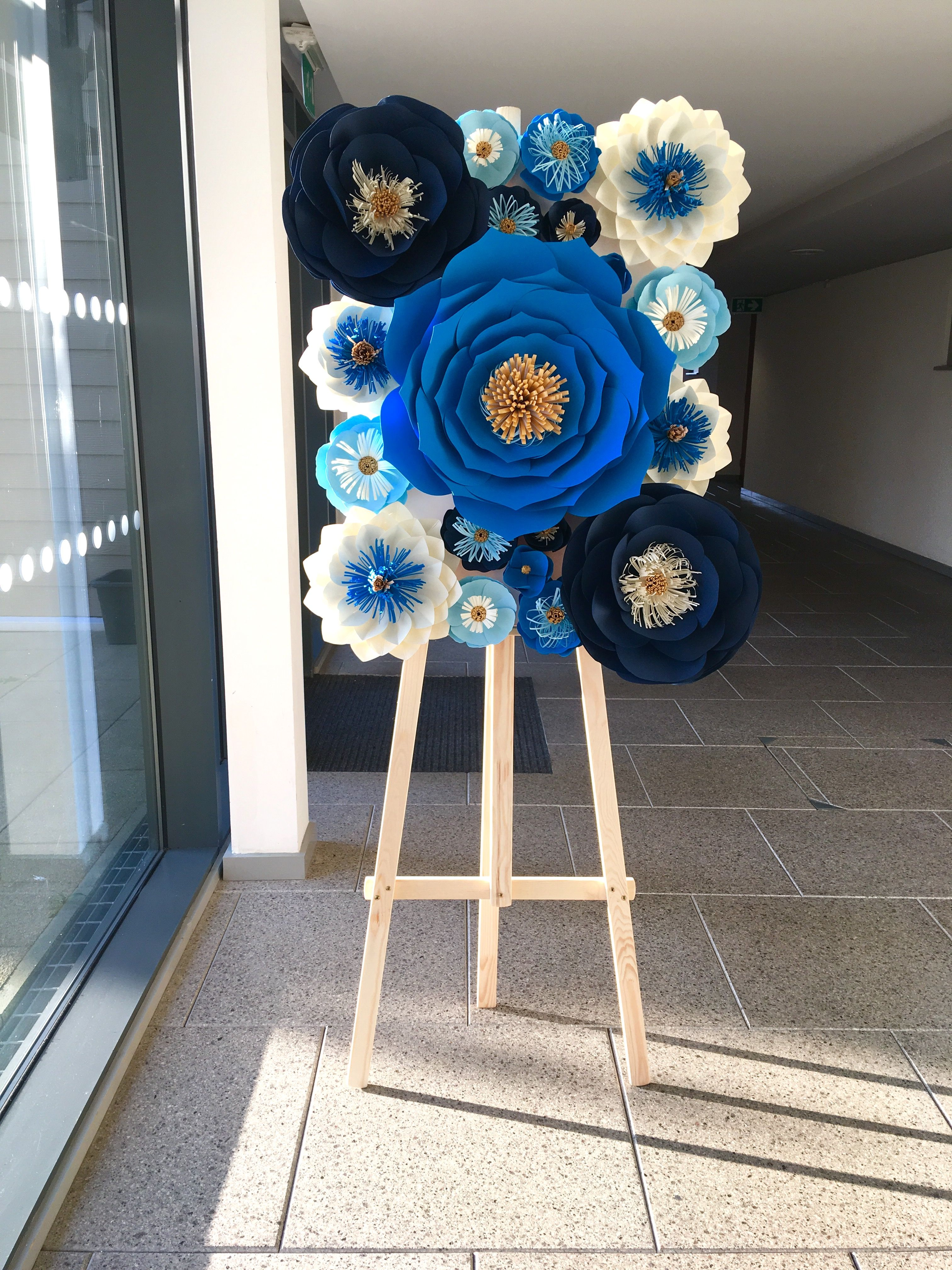 Royal Blue Navy Blue Baby Blue White And Gold Paper Floral Sweet