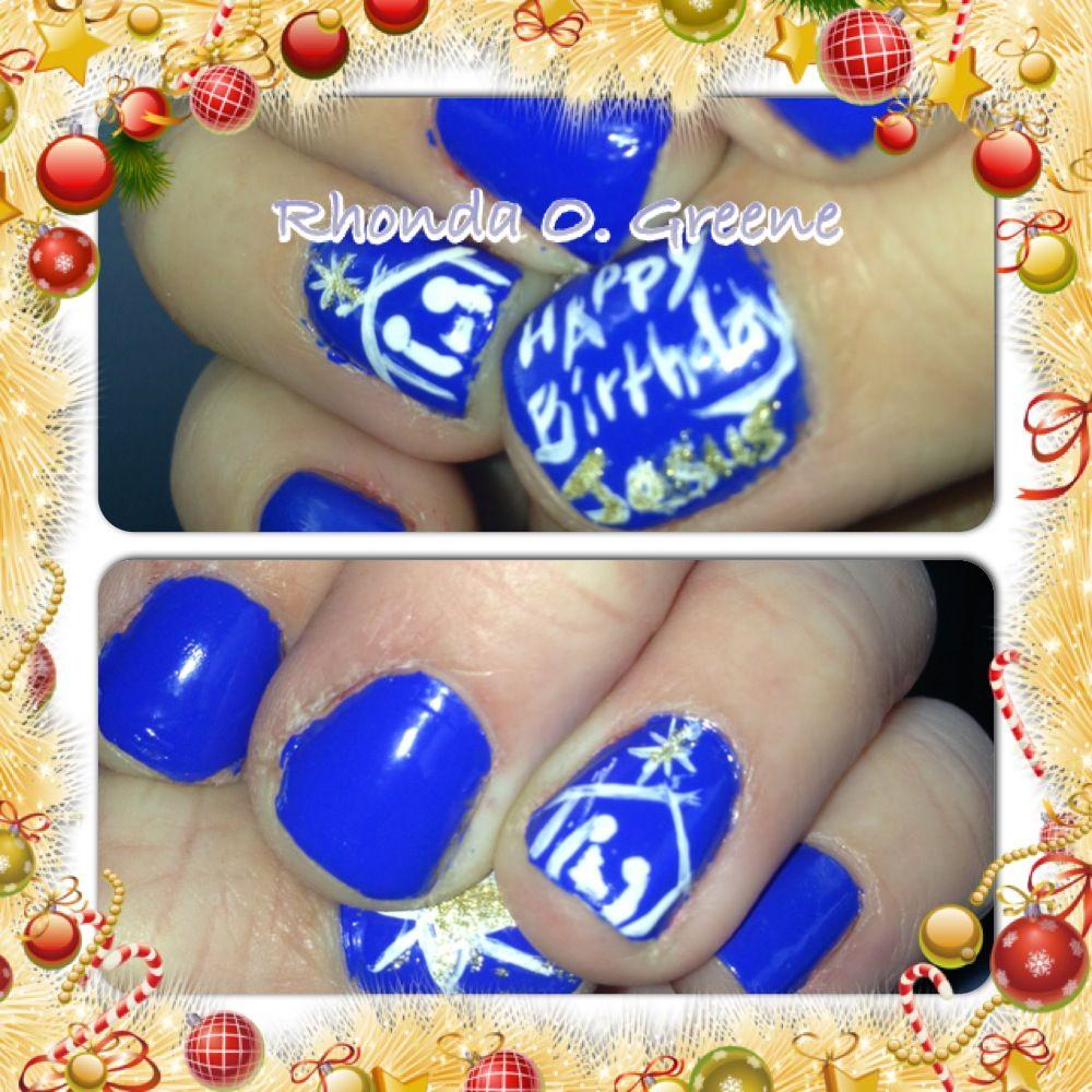 Jesus And Nativity Nail Art Happy Birthday Jesus Merry Christmas Nails Jesus Birthday Party Nail Art