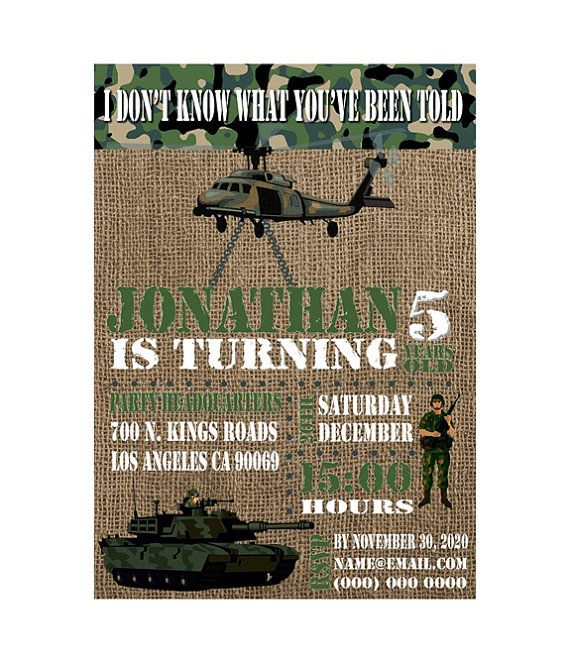 Army birthday party invitation kids army by myooakboutique on Etsy