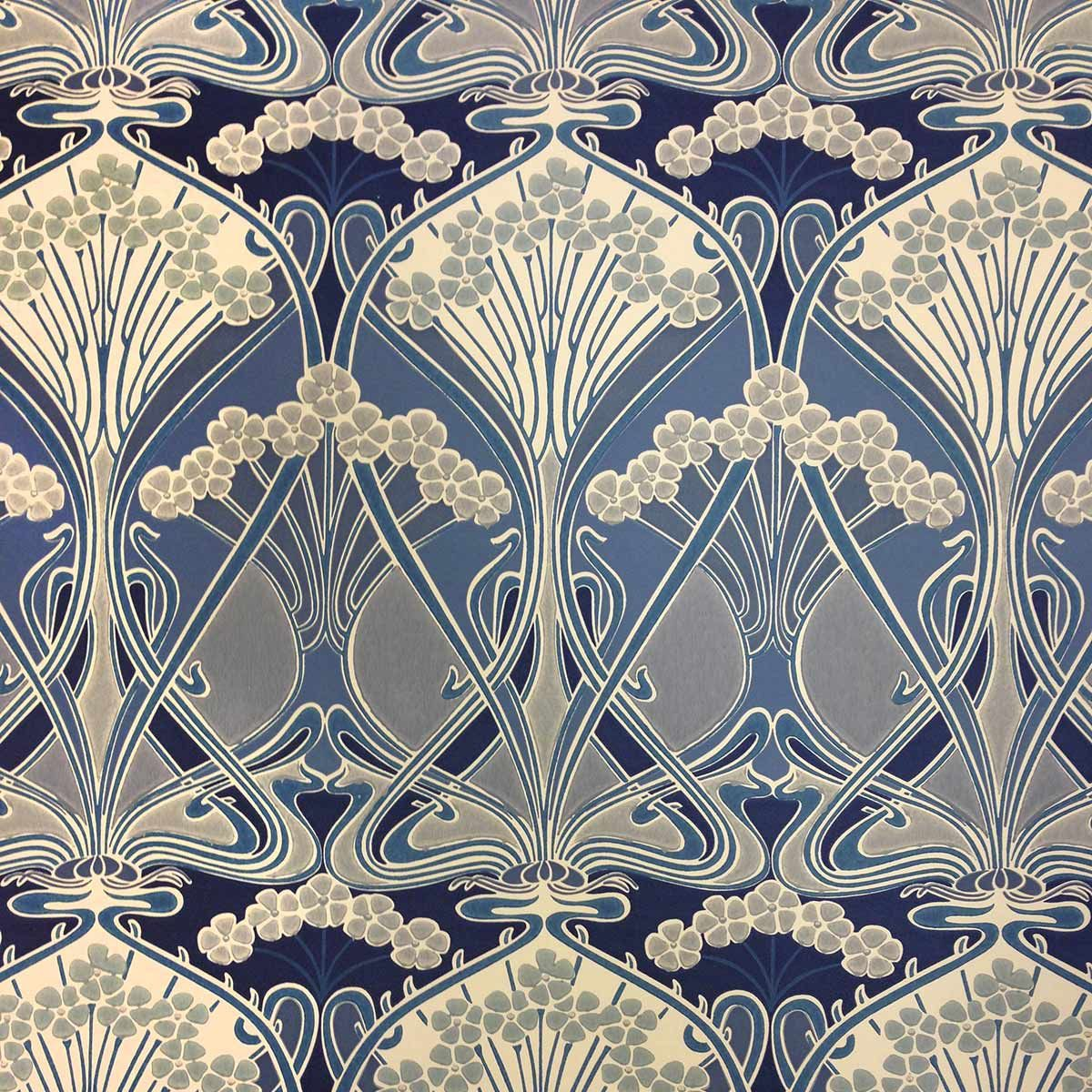 impression fleur bleue ciment 1900 papier peint art. Black Bedroom Furniture Sets. Home Design Ideas