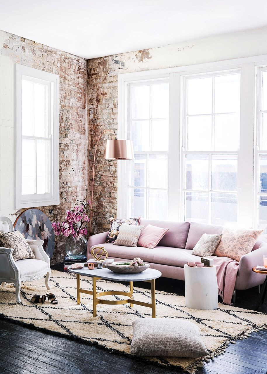 Obsessed with this glam industrial living room!! | No place like ...