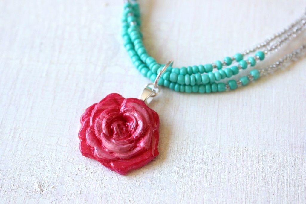 Make a Mod Melt Rose Pendant Necklace with the Mod Podge Flower Mold.