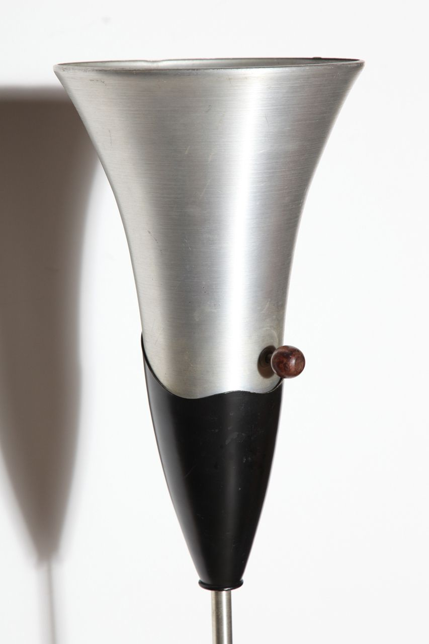 Russel Wright Spun Aluminum And Black Lacquer Torchiere Floor Lamp 1940s Floor Lamp Russel Wright Modern Floor Lamps