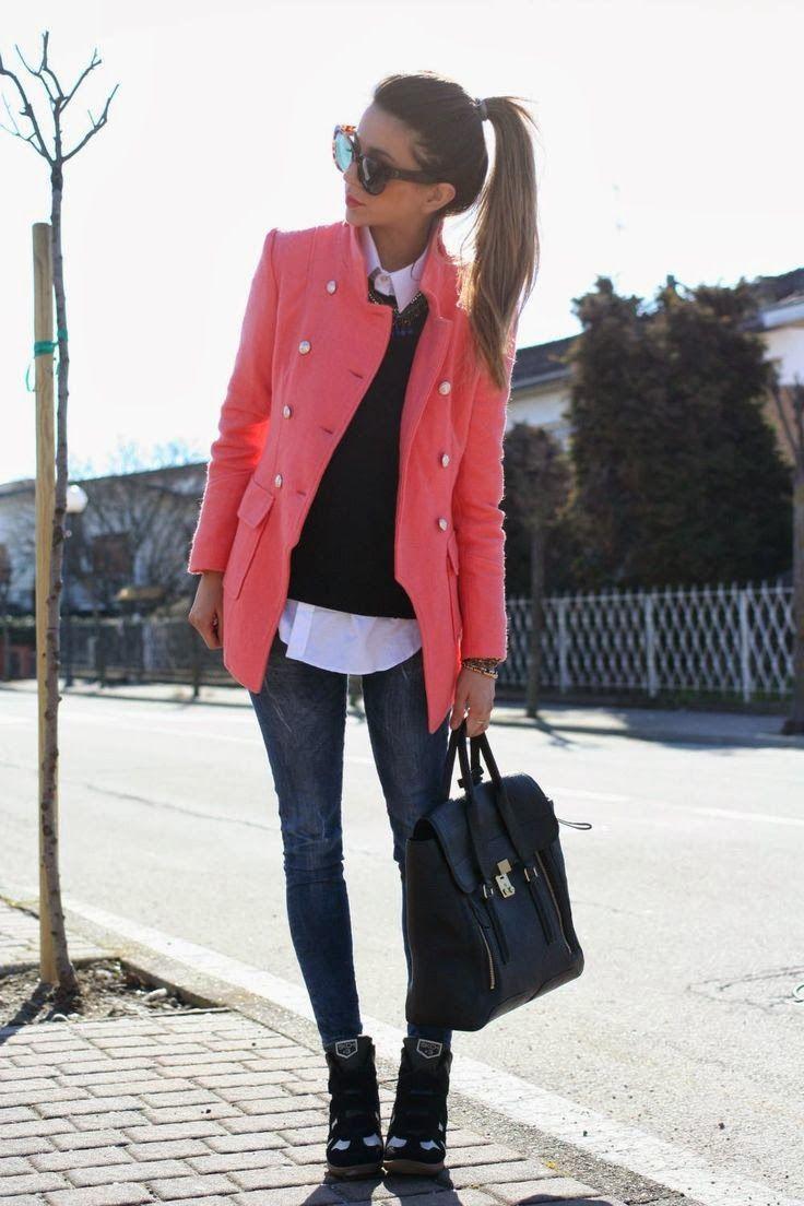 Pink Coat With Stunning Leather Handbag