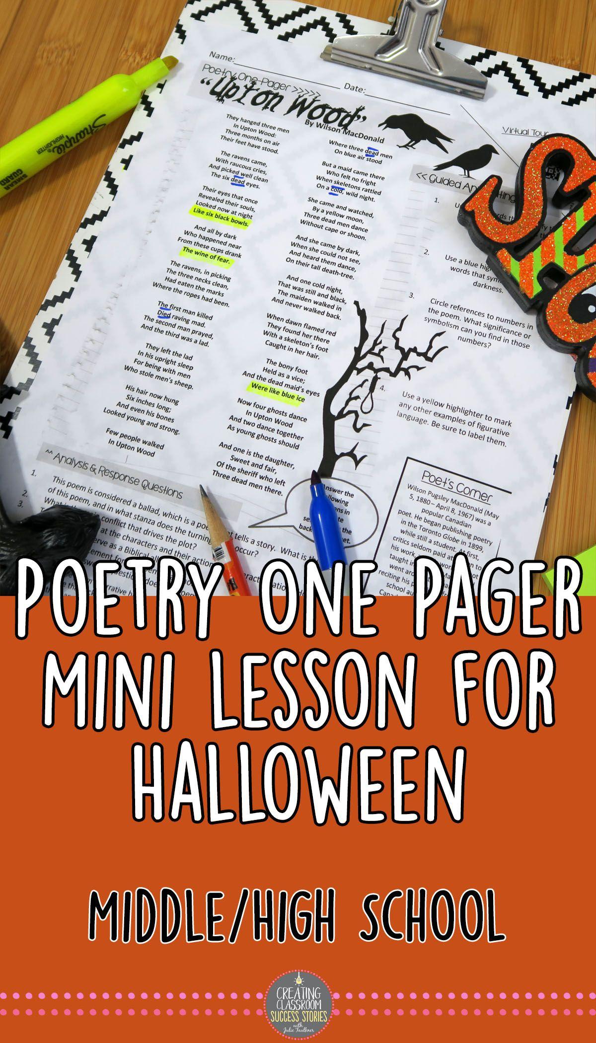 Halloween Activities Poetry Mini Lesson Upton Wood