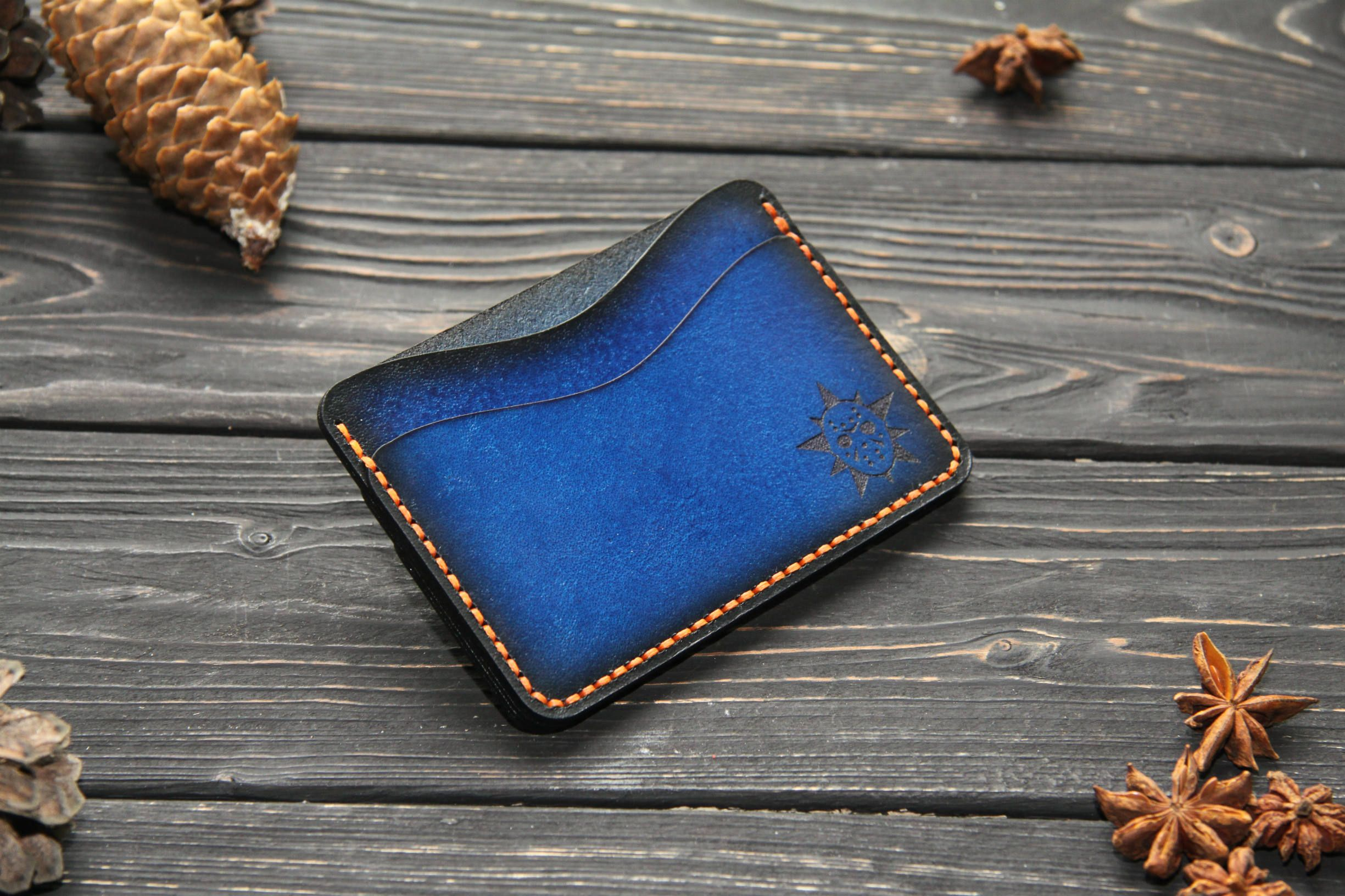 Thin leather wallet. Minimalist leather cardholders. Custom mens ...