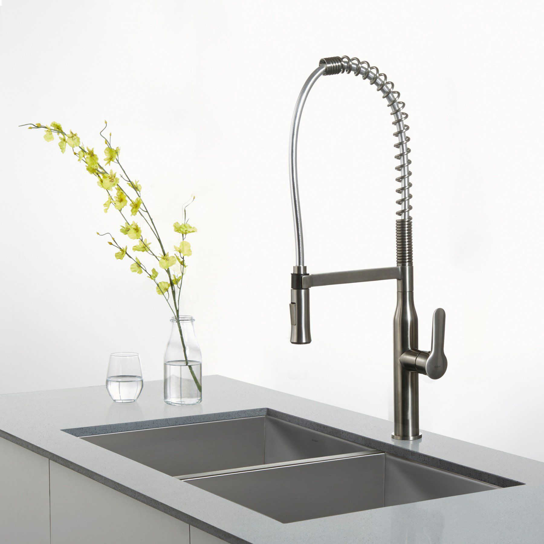 nola single lever commercial style kitchen faucet stainless steel ...