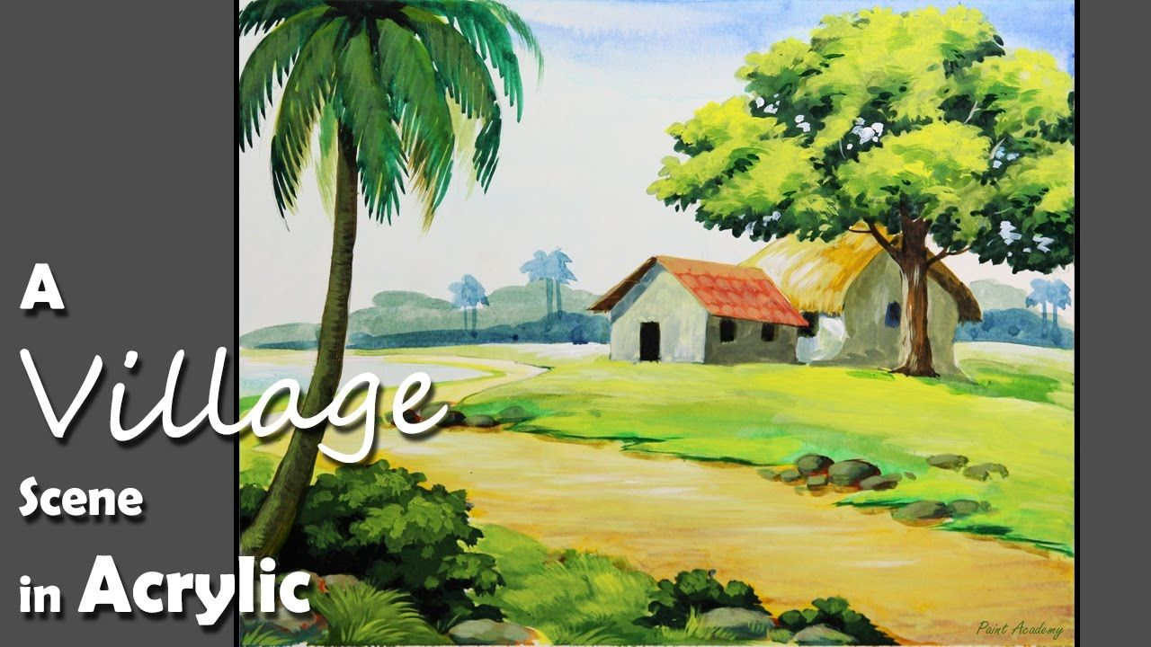 Acrylic Painting How To Paint A Village Landscape Youtube Landscape Scenery Paintings Painting