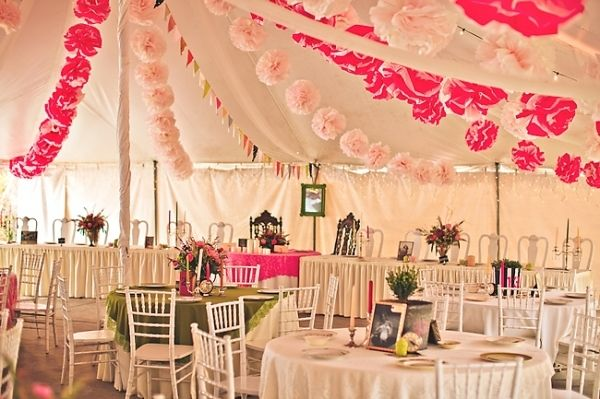 love tent decorations like this (from the middle out)... but with smaller fabric flower garlands and string lights.