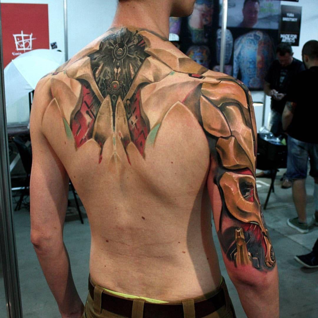 Spine Arm Cyberpunk Cyber Cyborg Cybertattoo Deusex Electronic Circuit Board Full Sleeve Blackwork Male Tattoo Augmentation