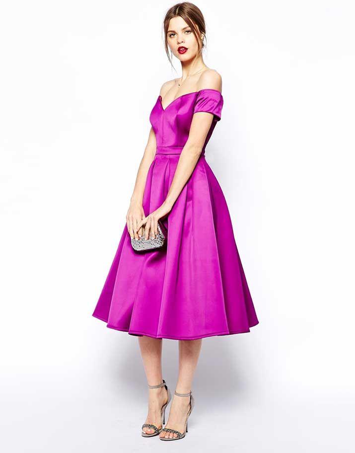 Shoeper Style | Bardot dress, Purple satin and Satin