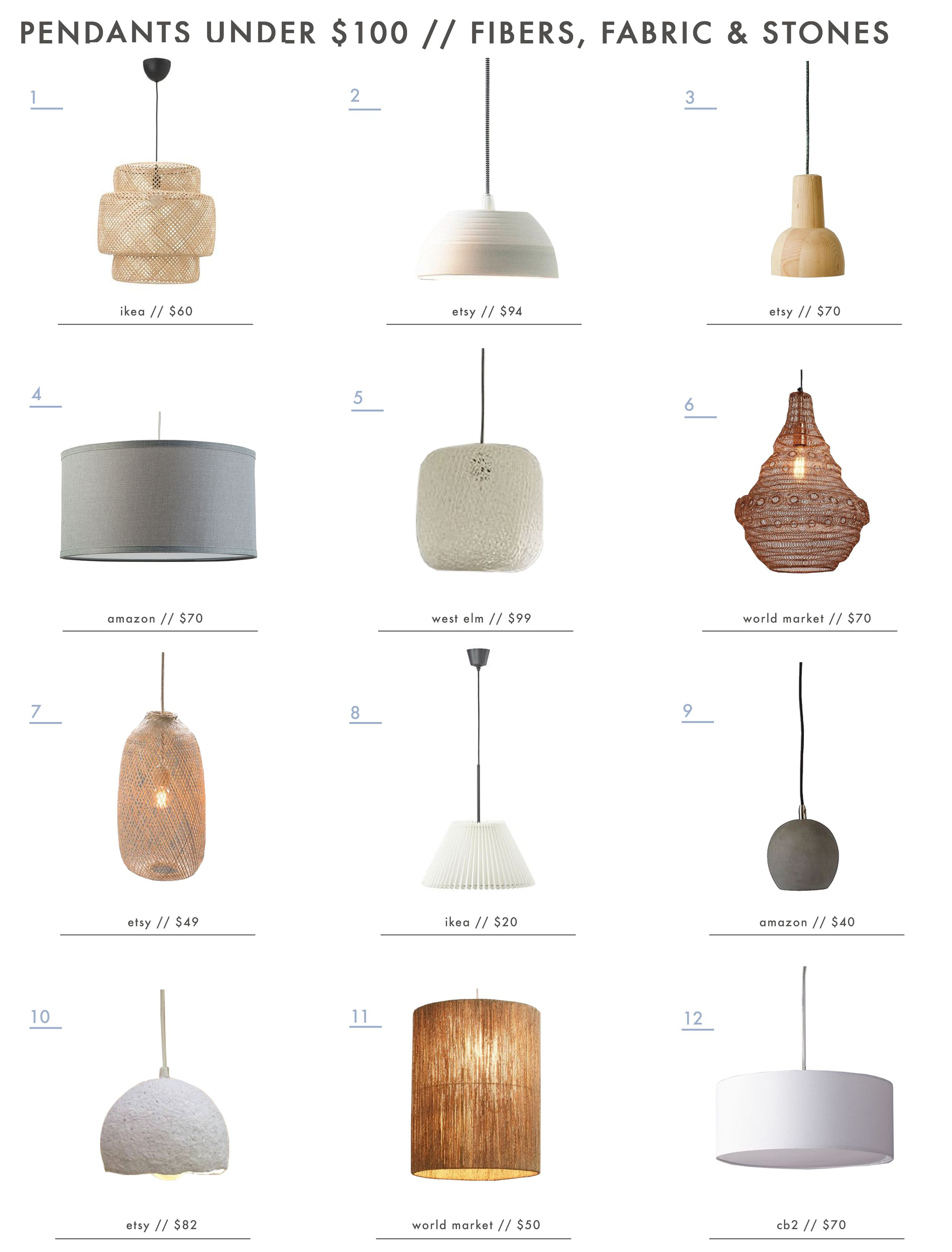 A Roundup Of Affordable Pendants Under 100 Lighting