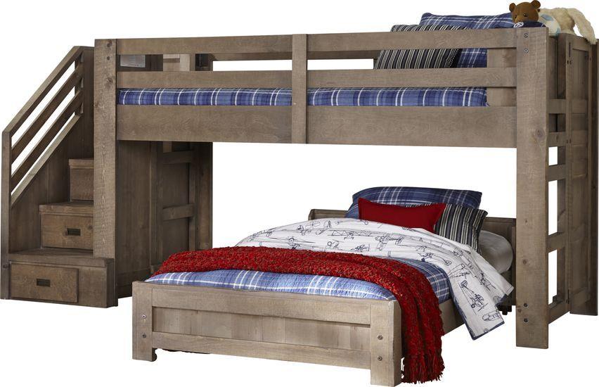 Montana Driftwood Twin Twin Step Jr Loft Bed Girls Bedroom Sets Cool Bunk Beds Kids Bunk Beds