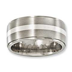 Zales Previously Owned - Edward Mirell Mens 10.0mm Wedding Band in Titanium and Sterling Silver DFdwzRnfn