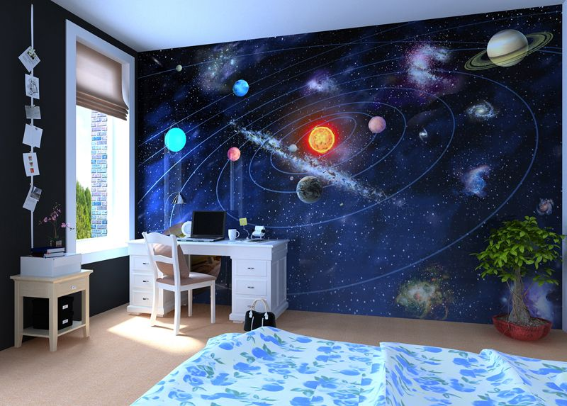 Solar System Wall Mural Wallpaper Photowall Home Decor - Teenage boys wallpaper designs