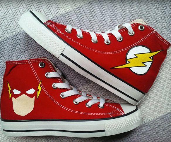 Flash DC Comics Converse Chucks Custom Painted Shoes Print