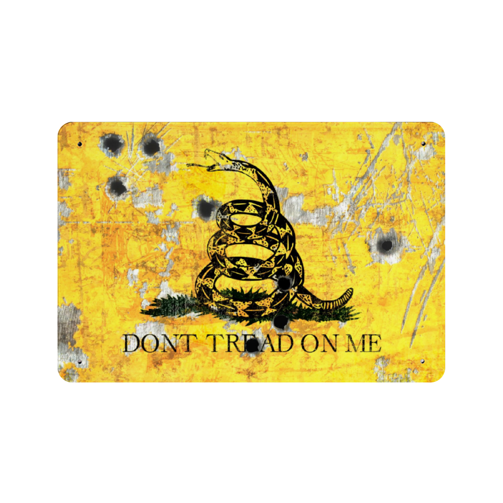Gadsden Flag On Distressed Metal With Bullet Hole Don T Tread On Me Made In Usa Print On Metal In 2020 Gadsden Flag Canvas Prints Bullet Holes