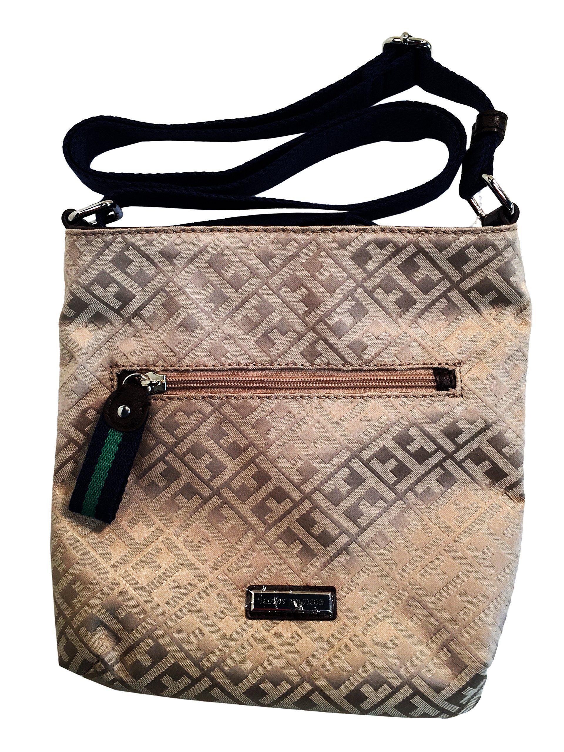 "Tommy Hilfiger Small Crossbody Handbag Purse (Beige/Beige Big H). Stylish design, very fashionable. Durable material. Zip Top Closure. Exterior Zip Pocket. Adjustable Crossbody Strap. Measures: 9"" x 9"" x 1.5""."