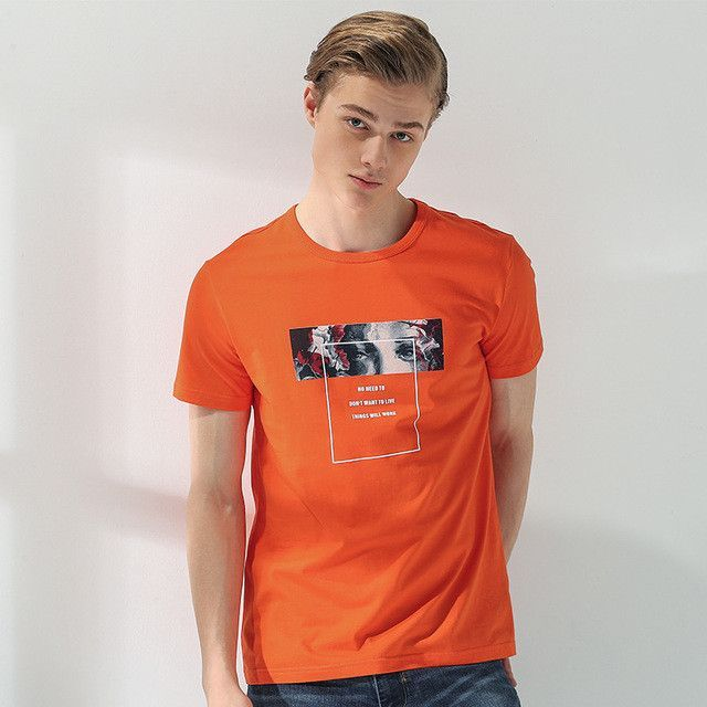 New short T shirt men -clothing fashion printed T-shirt male top quality 100% cotton orange blue
