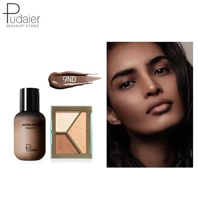 Pudaier Face Foundation Make-up Set Liquid Foundation Creme Matt Highlighter Base Gesicht ALL Concealer Cosmetic Professional Base – 9ND