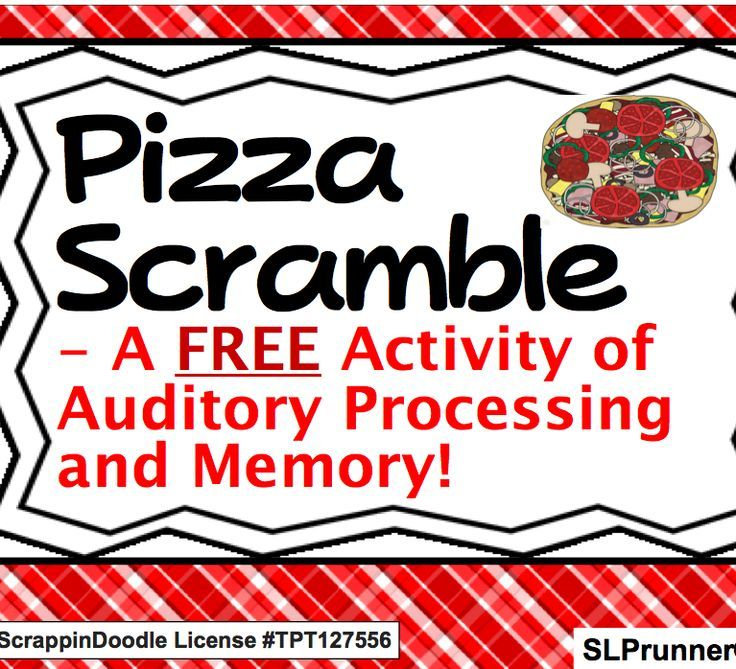 Pizza Scramble- A free Auditory Processing, Sequencing ...