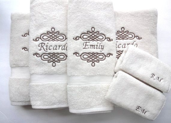 Set Of 6 Personalized Bath Towels Hand Towel Bathroom Personalized Gift Embroidered Towels Bathroom Wedding Gift Custom Towels Towel Embroidery Designs Embroidered Towels Embroidered Bath Towels