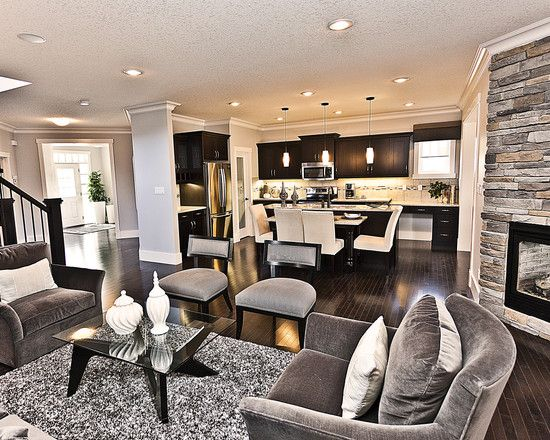 Grey Living Rooms With Dark Floors Design Pictures Remodel Decor And Ideas Love Contemporary Living Room Design Open Concept Living Room Living Room Grey Open concept house grey