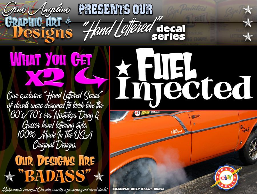 Details About X Set Of VINTAGE Hand Lettered Look Fuel Injected - Badass decals for trucks