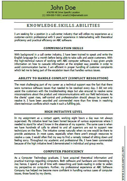 Each of the KSA online examples we write at KSAExamplesinfo is - sample of resume skills and abilities