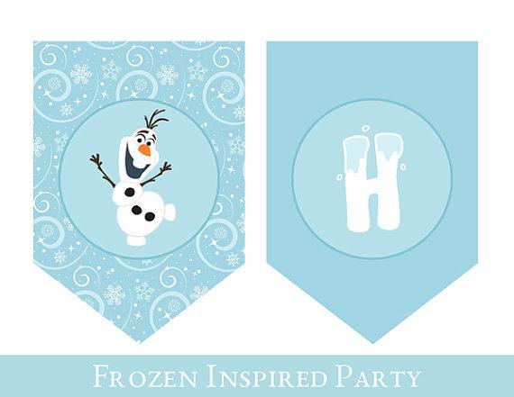Frozen Birthday Banner   Frozen Banner   PRINTABLE BIRTHDAY BANNER