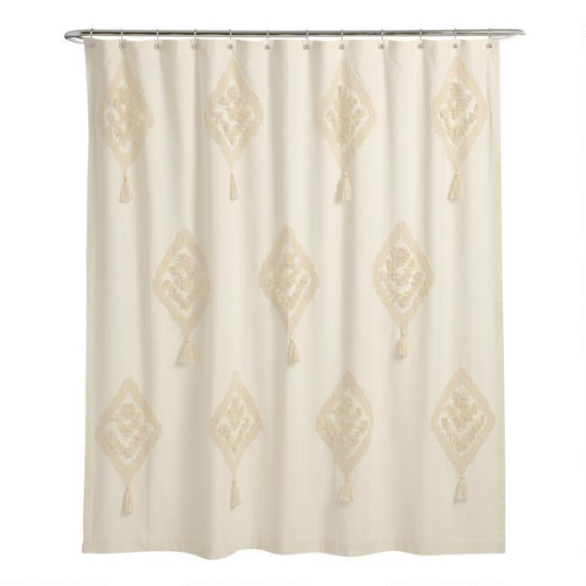 Ivory Tufted Diamond Tassel Yana Shower Curtain V1 In 2020