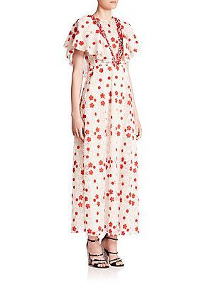 Giambattista Valli Embroidered Cape Dress