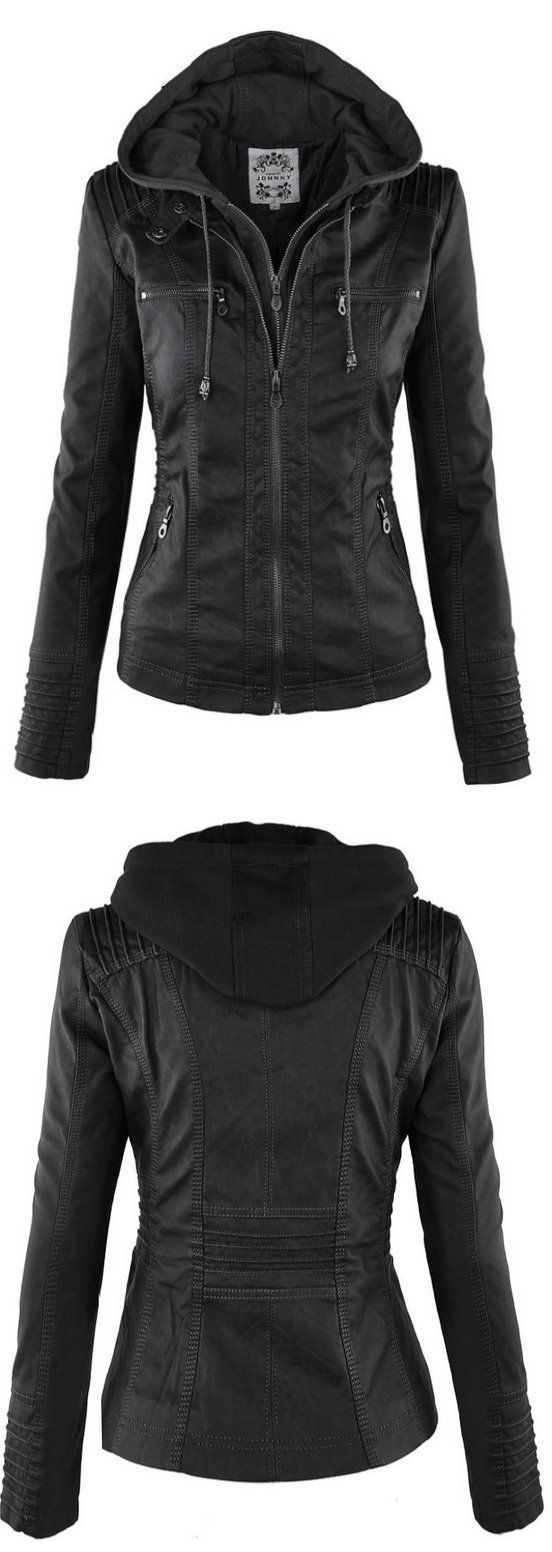 Leather jacket sale womens - Ll Womens Hooded Faux Leather Jacket Http Amzn To 1kshz5t