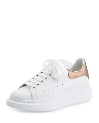 5a4377f0e76 ALEXANDER MCQUEEN Leather Lace-Up Platform Sneaker, White/Rose Gold. # alexandermcqueen #shoes #flats