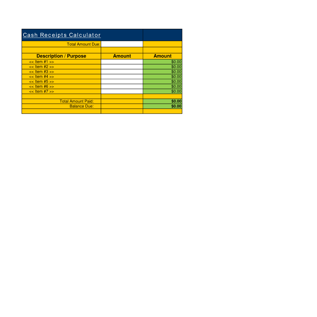 Cash Receipts Calculator Use The Cash Receipts Calculator Spreadsheet To Help Calculate Totals A Compr Spreadsheet Template Calculator Financial Information