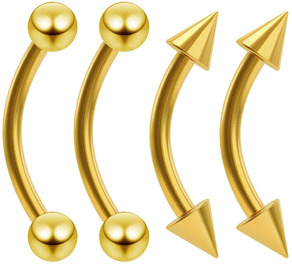 4pc Colorful Surgical Steel Eyebrow Ring Barbell Cone Curved Bar Tragus Piercing