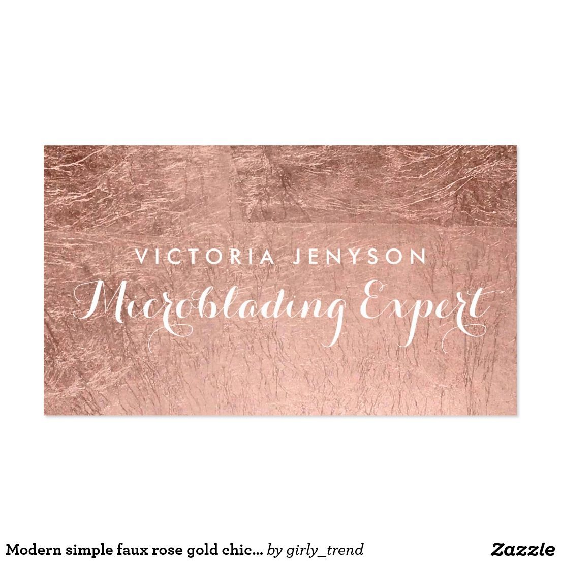Modern simple faux rose gold chic Microblading Business Card ...