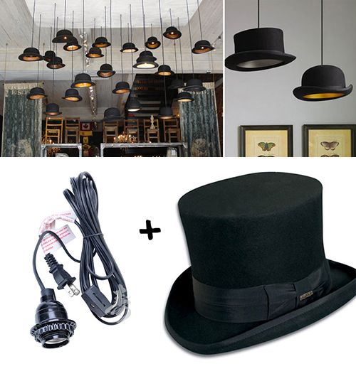 Lámparas hechas con sombreros
